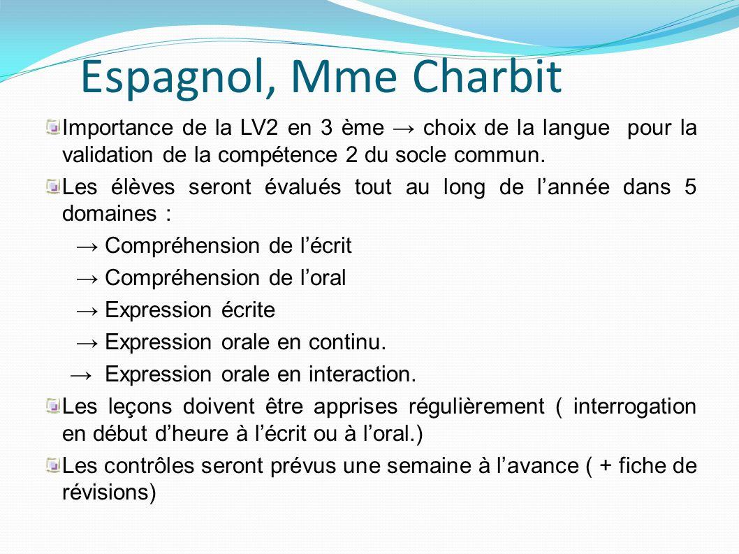 Espagnol, Mme Charbit Importance de la LV2 en 3 ème choix de la langue pour la validation de la compétence 2 du socle commun. Les élèves seront évalué
