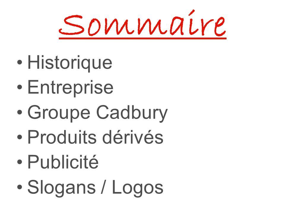 Sommaire Historique Entreprise Groupe Cadbury Produits dérivés Publicité Slogans / Logos