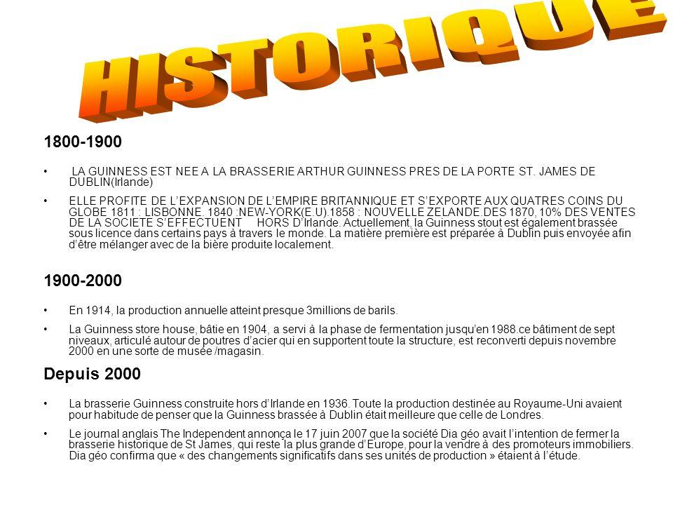 1800-1900 LA GUINNESS EST NEE A LA BRASSERIE ARTHUR GUINNESS PRES DE LA PORTE ST. JAMES DE DUBLIN(Irlande) ELLE PROFITE DE LEXPANSION DE LEMPIRE BRITA