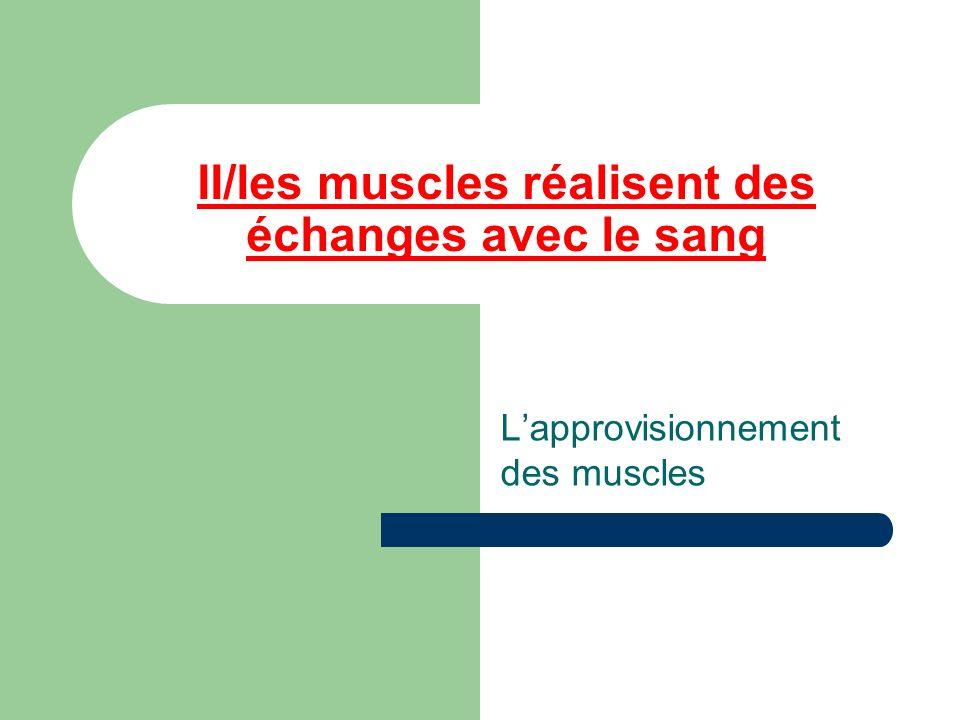 II/les muscles réalisent des échanges avec le sang Lapprovisionnement des muscles