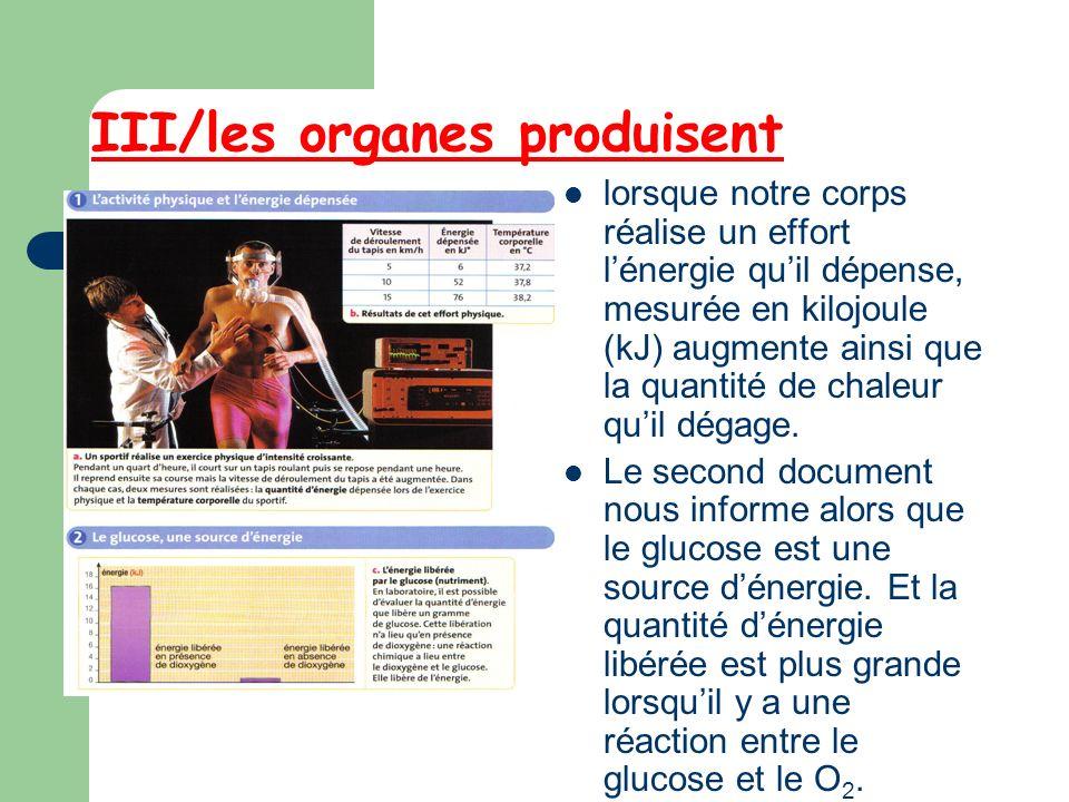III/les organes produisent lorsque notre corps réalise un effort lénergie quil dépense, mesurée en kilojoule (kJ) augmente ainsi que la quantité de ch