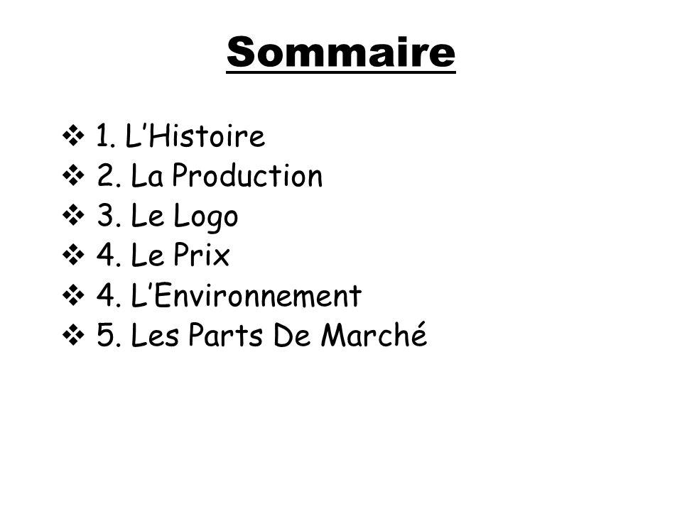 Sommaire 1. LHistoire 2. La Production 3. Le Logo 4. Le Prix 4. LEnvironnement 5. Les Parts De Marché