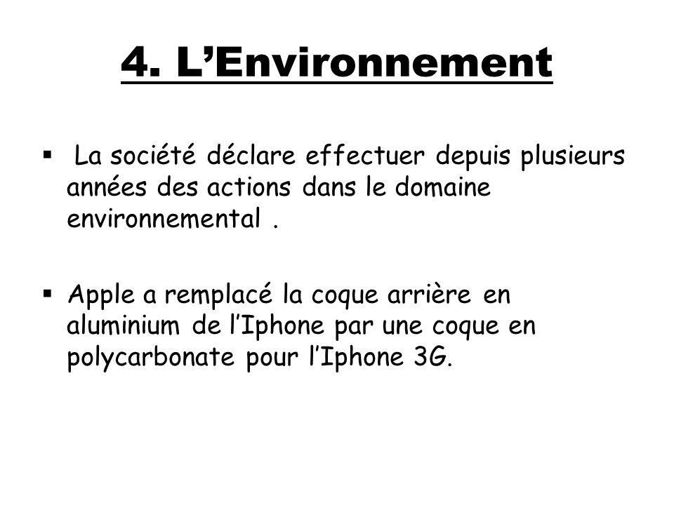 4. LEnvironnement La société déclare effectuer depuis plusieurs années des actions dans le domaine environnemental. Apple a remplacé la coque arrière