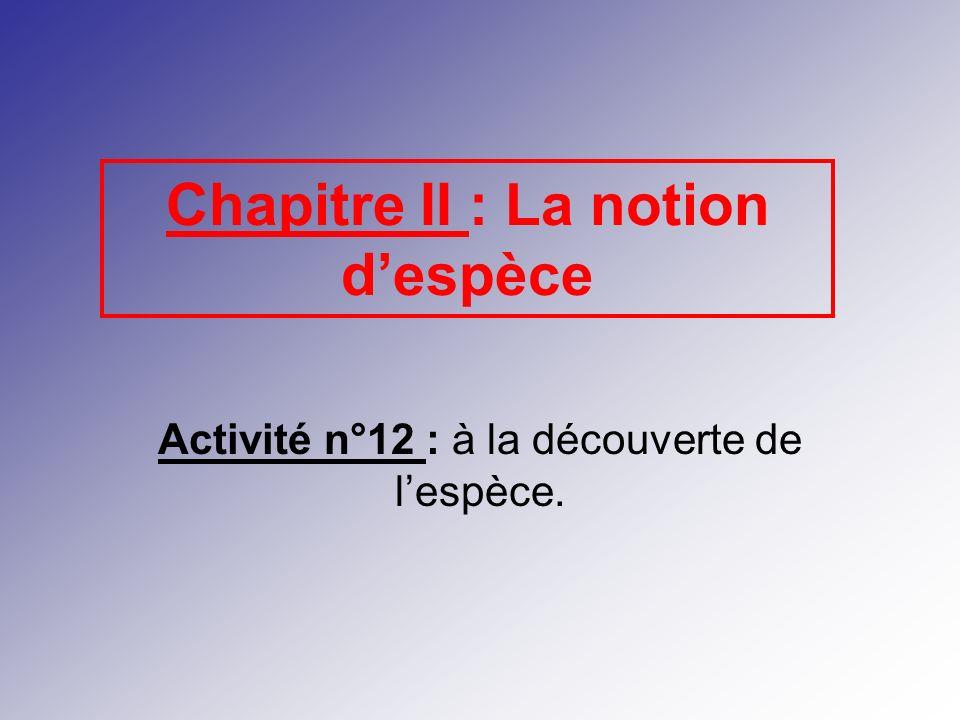 Chapitre II : La notion despèce Activité n°12 : à la découverte de lespèce.