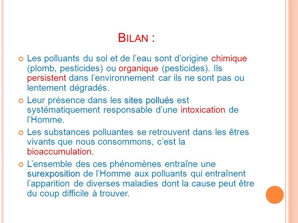 B ILAN : Les polluants du sol et de leau sont dorigine chimique (plomb, pesticides) ou organique (pesticides). Ils persistent dans lenvironnement car