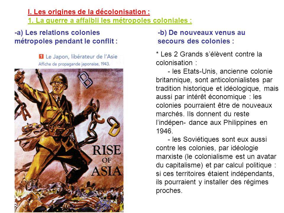 I. Les origines de la décolonisation : 1. La guerre a affaibli les métropoles coloniales : * Les 2 Grands sélèvent contre la colonisation : - les Etat