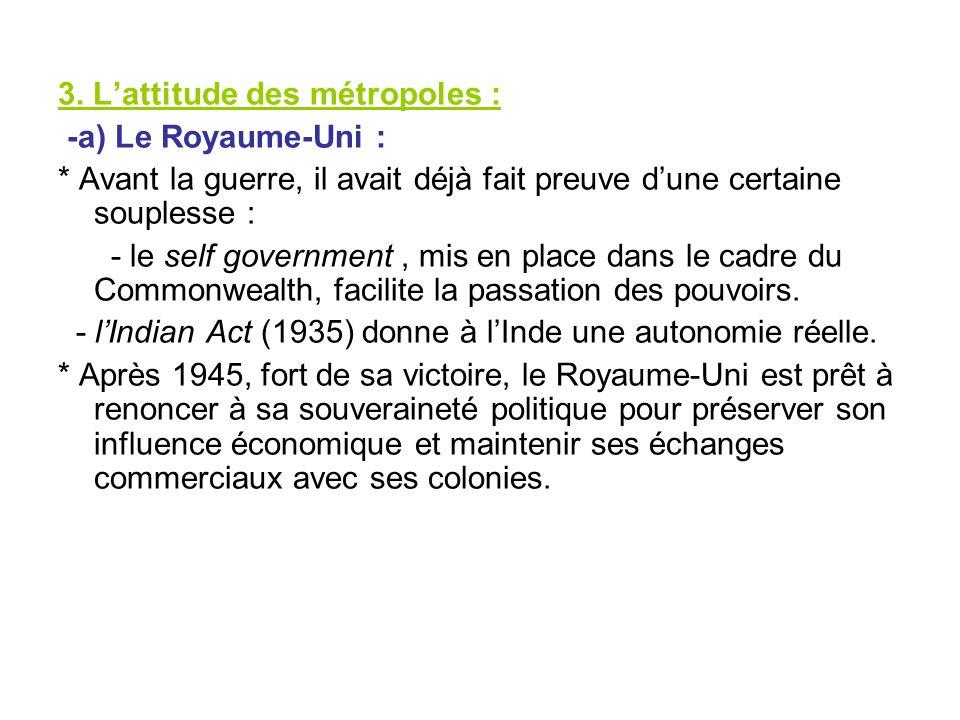 3. Lattitude des métropoles : -a) Le Royaume-Uni : * Avant la guerre, il avait déjà fait preuve dune certaine souplesse : - le self government, mis en