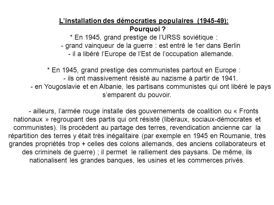 Linstallation des démocraties populaires (1945-49): Pourquoi ? * En 1945, grand prestige de lURSS soviétique : - grand vainqueur de la guerre : est en