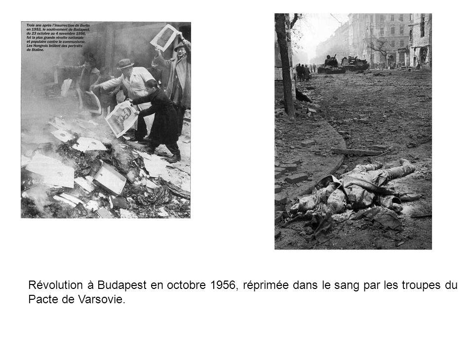 Révolution à Budapest en octobre 1956, réprimée dans le sang par les troupes du Pacte de Varsovie.