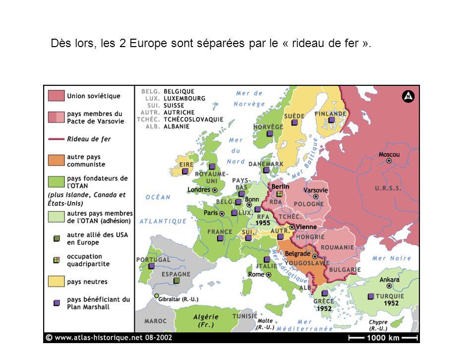 Dès lors, les 2 Europe sont séparées par le « rideau de fer ».