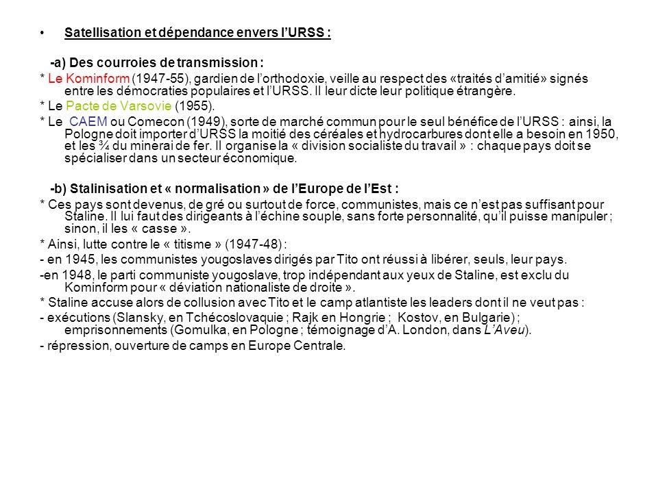 Satellisation et dépendance envers lURSS : -a) Des courroies de transmission : * Le Kominform (1947-55), gardien de lorthodoxie, veille au respect des