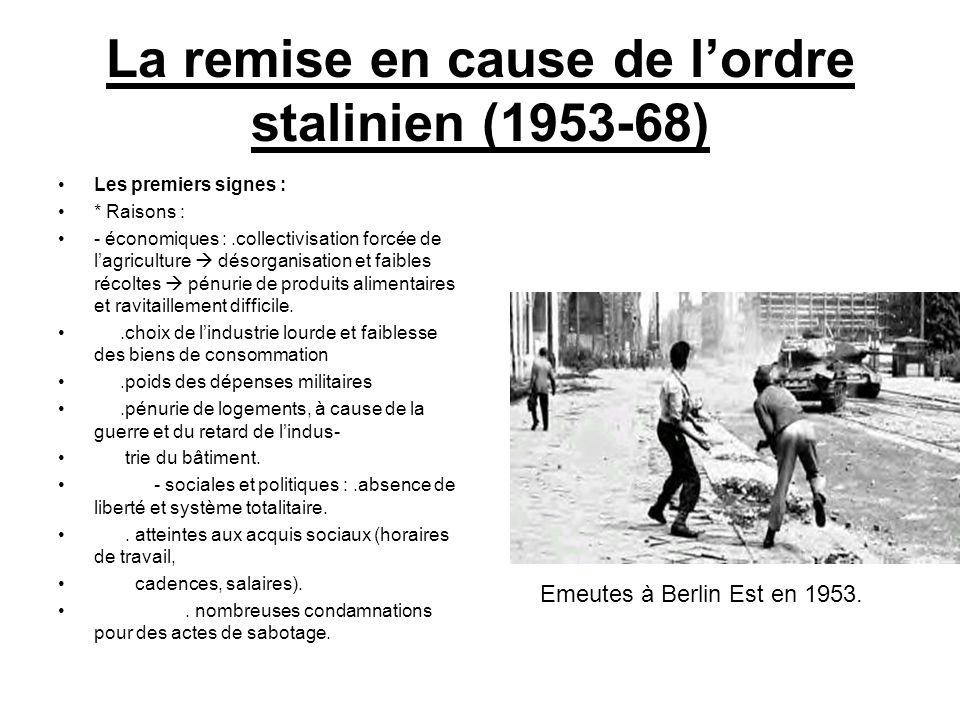 La remise en cause de lordre stalinien (1953-68) Les premiers signes : * Raisons : - économiques :.collectivisation forcée de lagriculture désorganisa