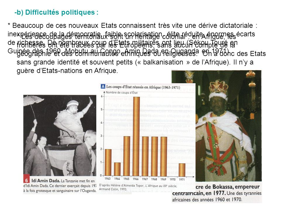 -b) Difficultés politiques : * Les découpages territoriaux sont un héritage colonial : en Afrique, les frontières ont été tracées par les Européens, s