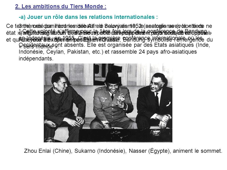 2. Les ambitions du Tiers Monde : -a) Jouer un rôle dans les relations internationales : * Cette volonté saffirme pour la 1ère fois lors de la confére