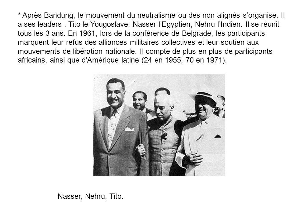 * Après Bandung, le mouvement du neutralisme ou des non alignés sorganise. Il a ses leaders : Tito le Yougoslave, Nasser lEgyptien, Nehru lIndien. Il