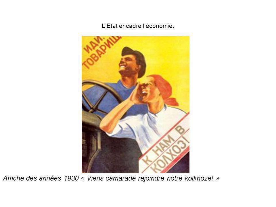 Affiche des années 1930 « Viens camarade rejoindre notre kolkhoze! » LEtat encadre léconomie.