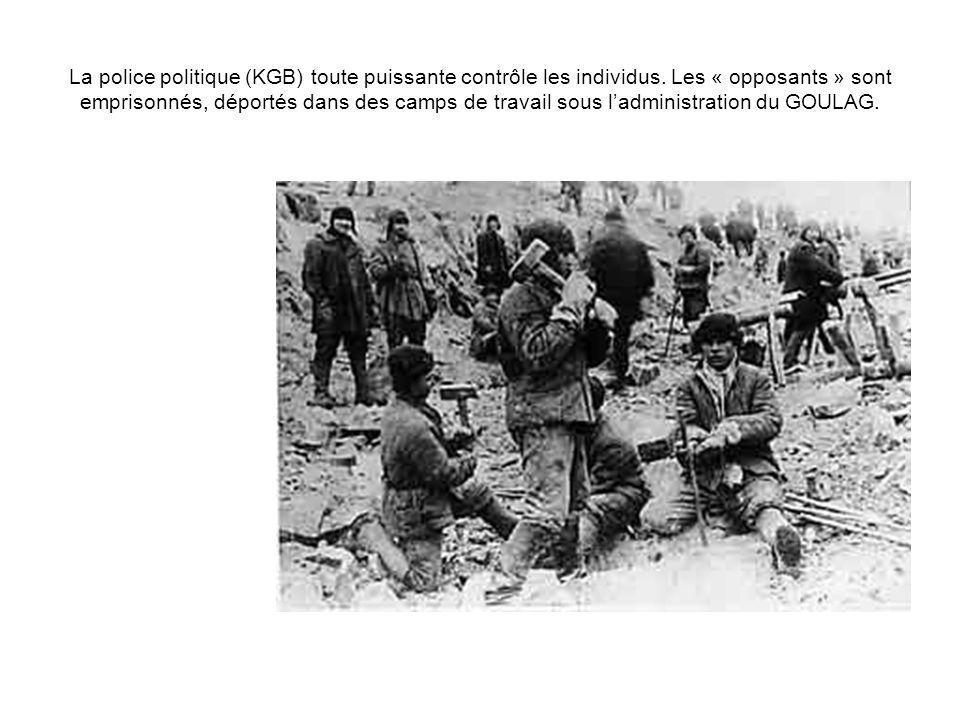 La police politique (KGB) toute puissante contrôle les individus. Les « opposants » sont emprisonnés, déportés dans des camps de travail sous ladminis