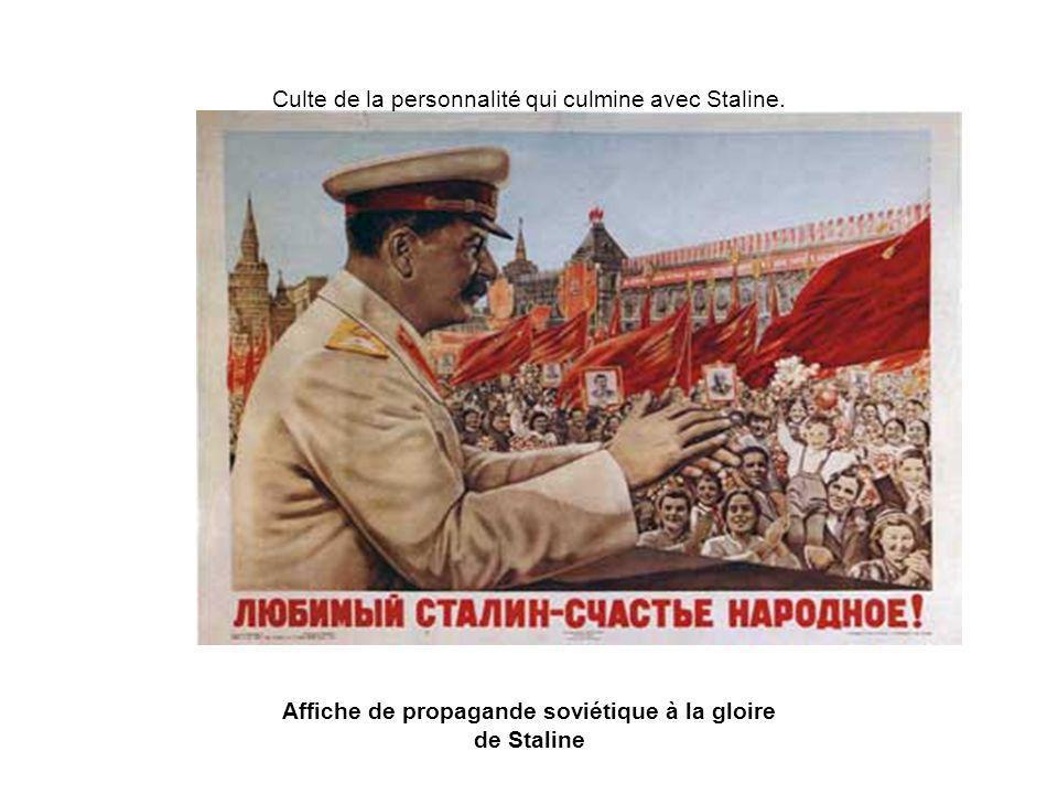 Affiche de propagande soviétique à la gloire de Staline Culte de la personnalité qui culmine avec Staline.