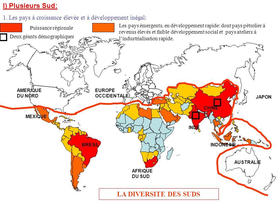 LA DIVERSITE DES SUDS BRESIL AFRIQUE DU SUD CHINE INDE INDONESIE MEXIQUE HAITI AMERIQUE DU NORD AUSTRALIE JAPON EUROPE OCCIDENTALE I) Plusieurs Sud: 2.