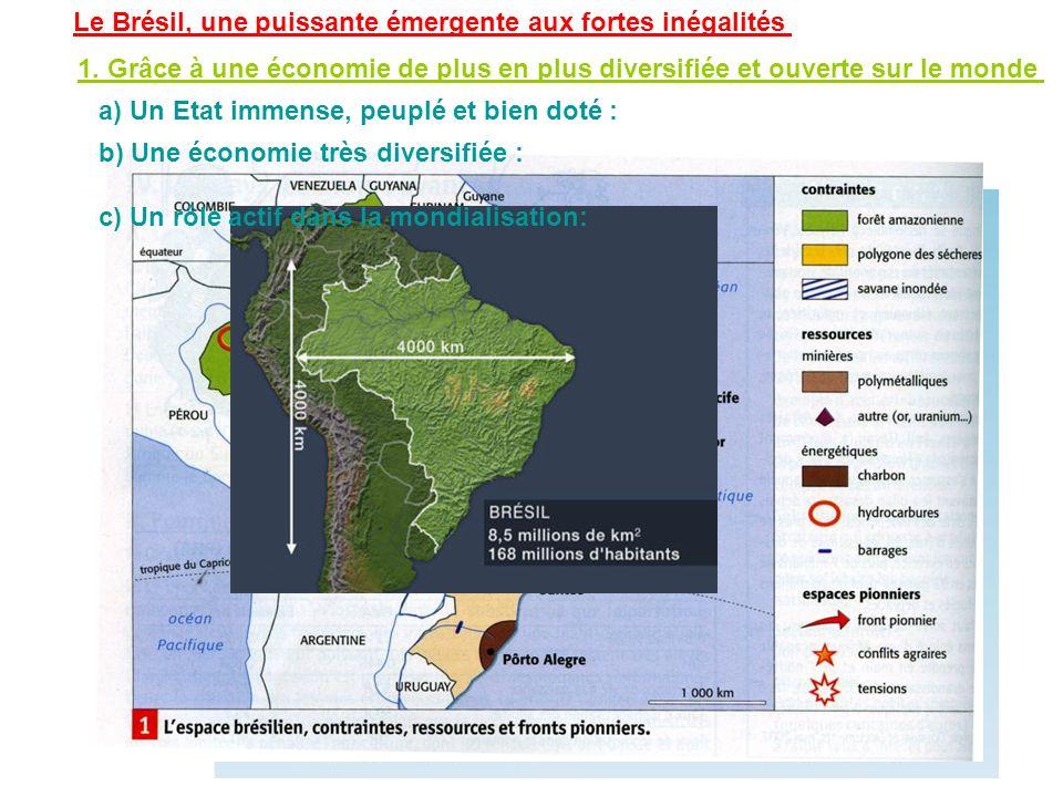 Le Brésil, une puissante émergente aux fortes inégalités 1. Grâce à une économie de plus en plus diversifiée et ouverte sur le monde a) Un Etat immens