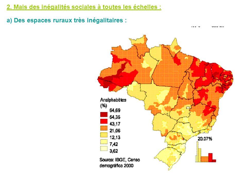 2. Mais des inégalités sociales à toutes les échelles : a) Des espaces ruraux très inégalitaires :