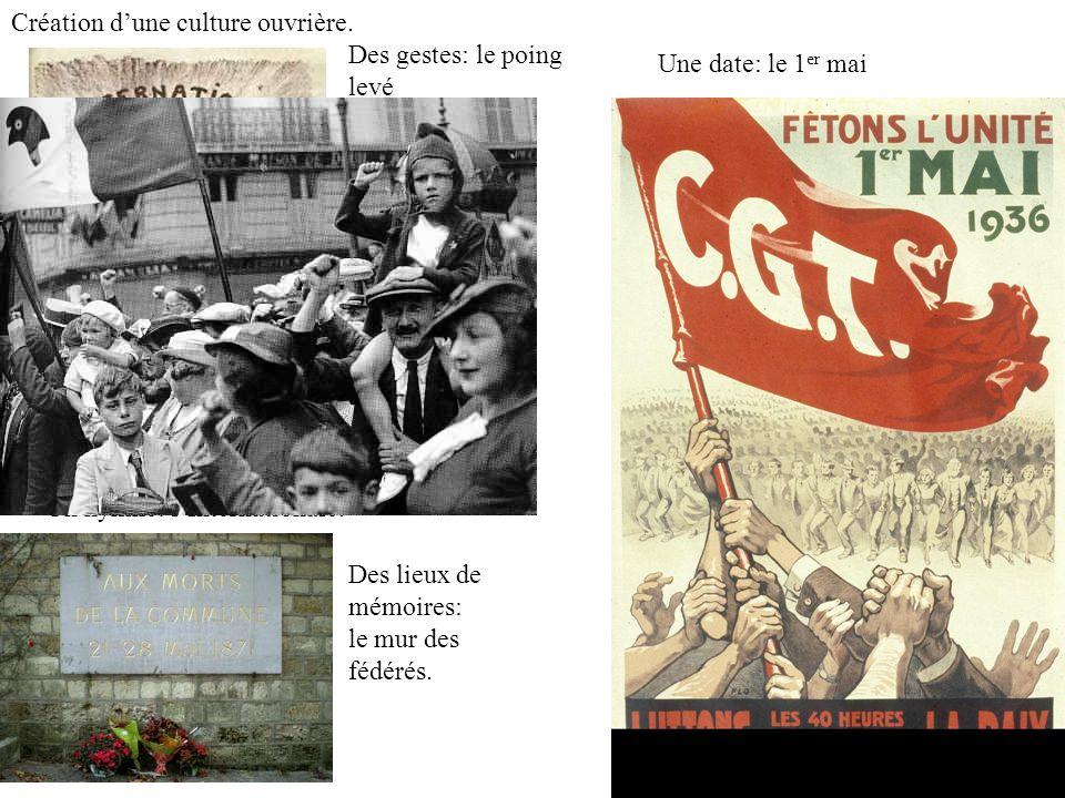Création dune culture ouvrière. Un hymne: lInternationale. Une date: le 1 er mai Des lieux de mémoires: le mur des fédérés. Des gestes: le poing levé