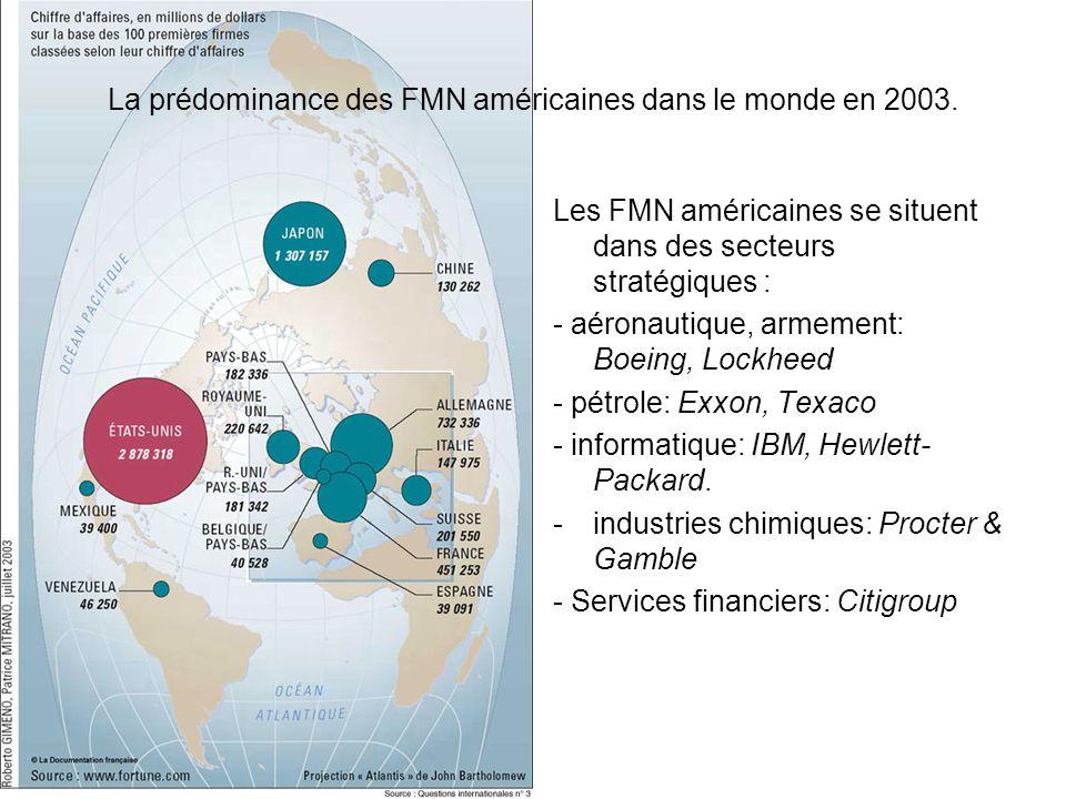 La prédominance des FMN américaines dans le monde en 2003. Les FMN américaines se situent dans des secteurs stratégiques : - aéronautique, armement: B