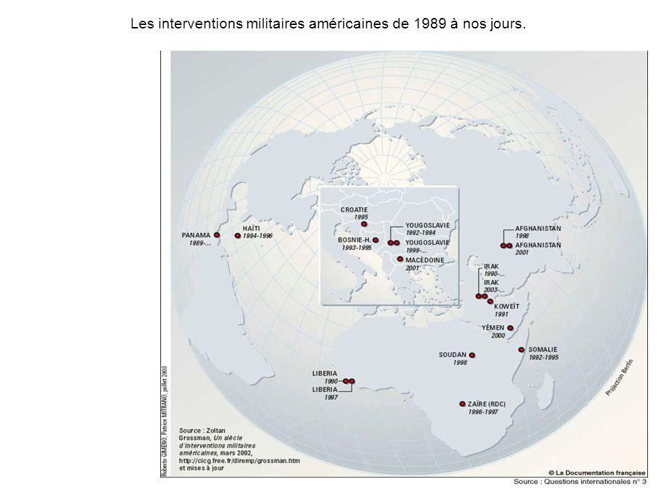 Les interventions militaires américaines de 1989 à nos jours.