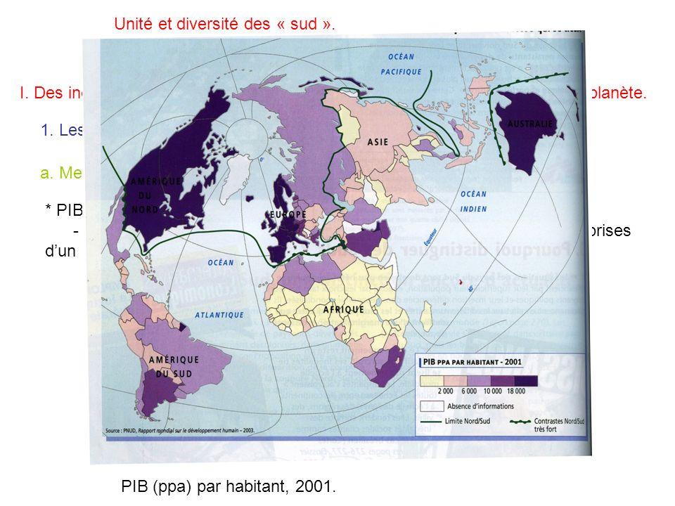 Unité et diversité des « sud ». I. Des inégalités toujours fortement marquées et renforcées à léchelle de la planète. 1. Les mesures du développement.