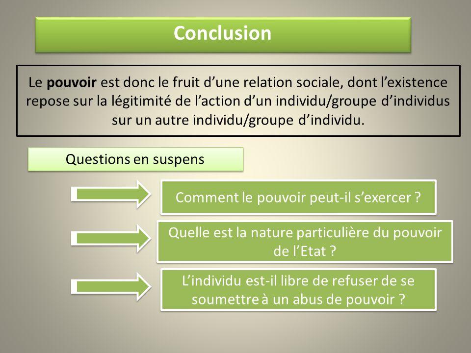 Conclusion Le pouvoir est donc le fruit dune relation sociale, dont lexistence repose sur la légitimité de laction dun individu/groupe dindividus sur