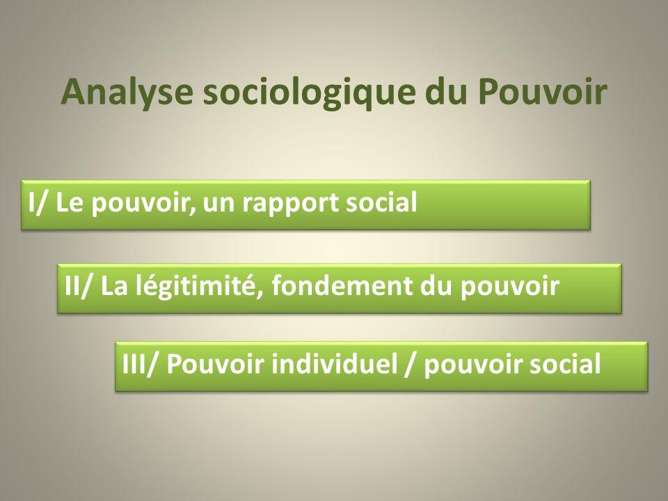 Analyse sociologique du Pouvoir II/ La légitimité, fondement du pouvoir III/ Pouvoir individuel / pouvoir social I/ Le pouvoir, un rapport social I/ L