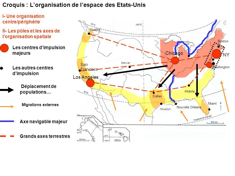 Croquis : Lorganisation de lespace des Etats-Unis Déplacement de populations… II- Les pôles et les axes de lorganisation spatiale Les centres dimpulsi