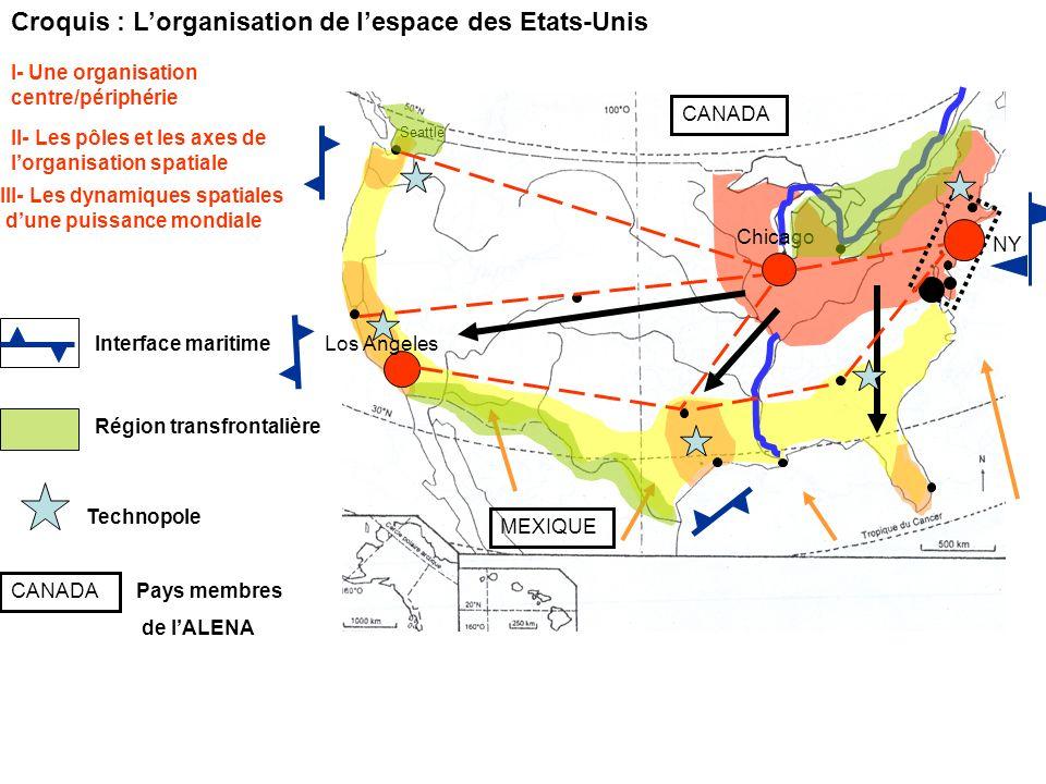 Croquis : Lorganisation de lespace des Etats-Unis II- Les pôles et les axes de lorganisation spatiale I- Une organisation centre/périphérie NY Chicago