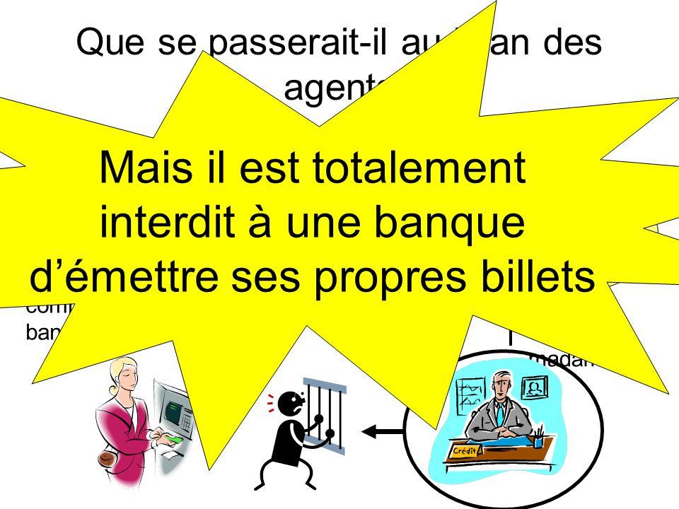Que se passerait-il au bilan des agents Actif Passif -100 compte de madame G +100 émission de billets C Les billets sont des dettes, des engagements p