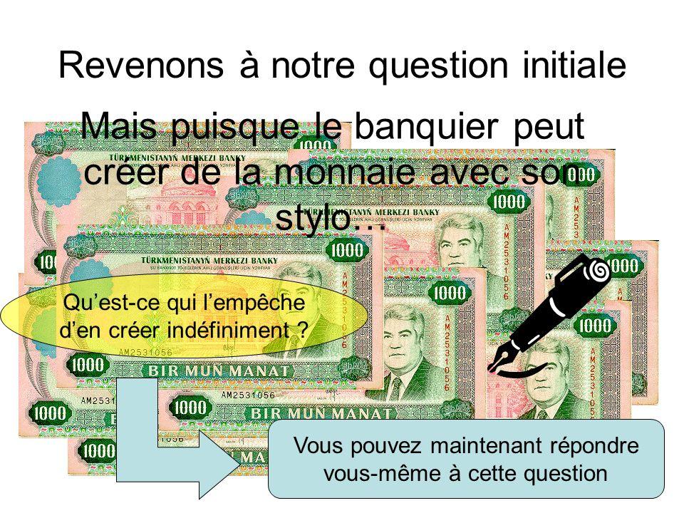 Revenons à notre question initiale Mais puisque le banquier peut créer de la monnaie avec son stylo… Quest-ce qui lempêche den créer indéfiniment ? Vo