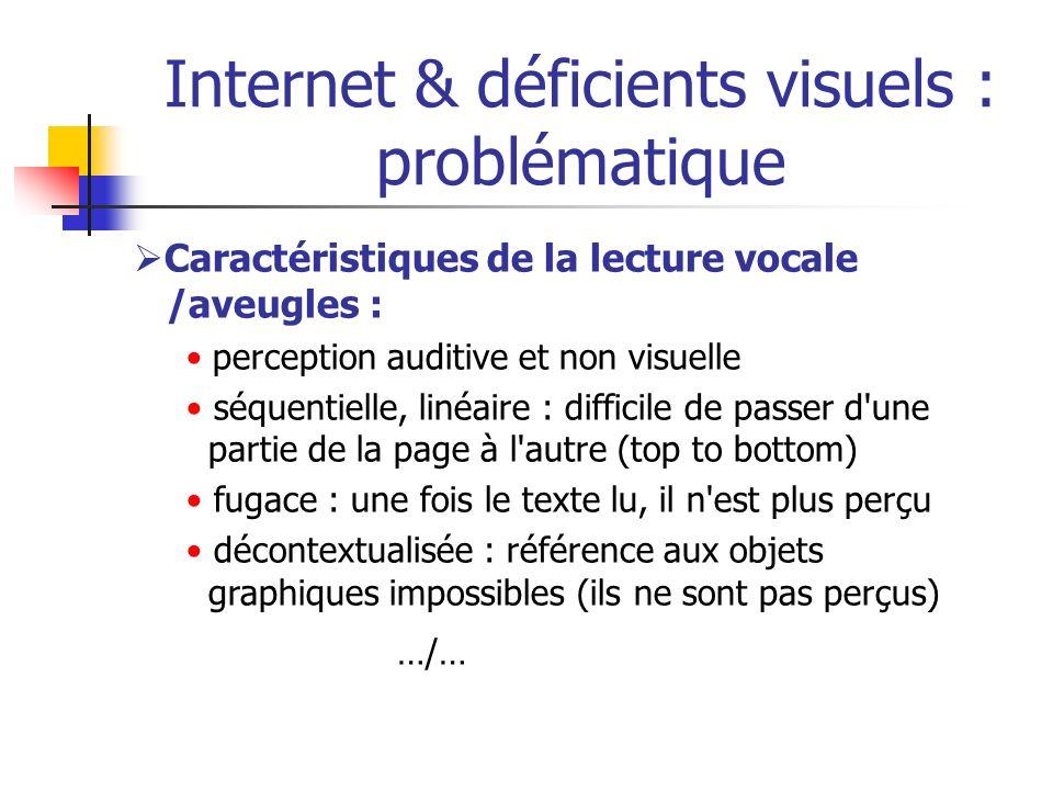 Internet & déficients visuels : problématique Caractéristiques de la lecture vocale /aveugles : perception auditive et non visuelle séquentielle, liné