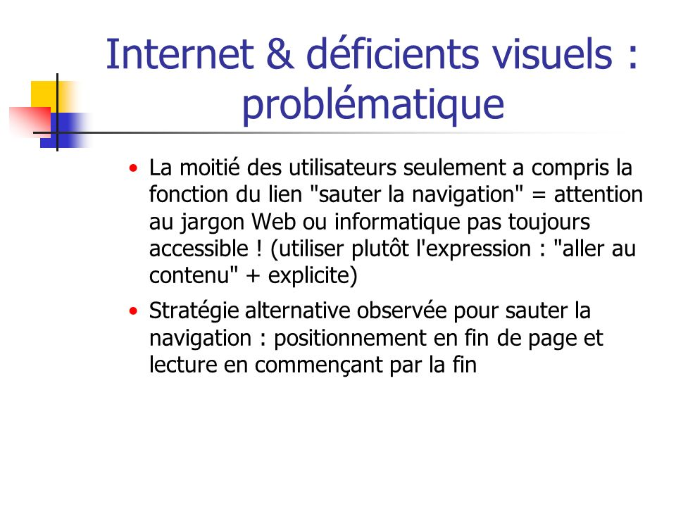 Internet & déficients visuels : problématique La moitié des utilisateurs seulement a compris la fonction du lien