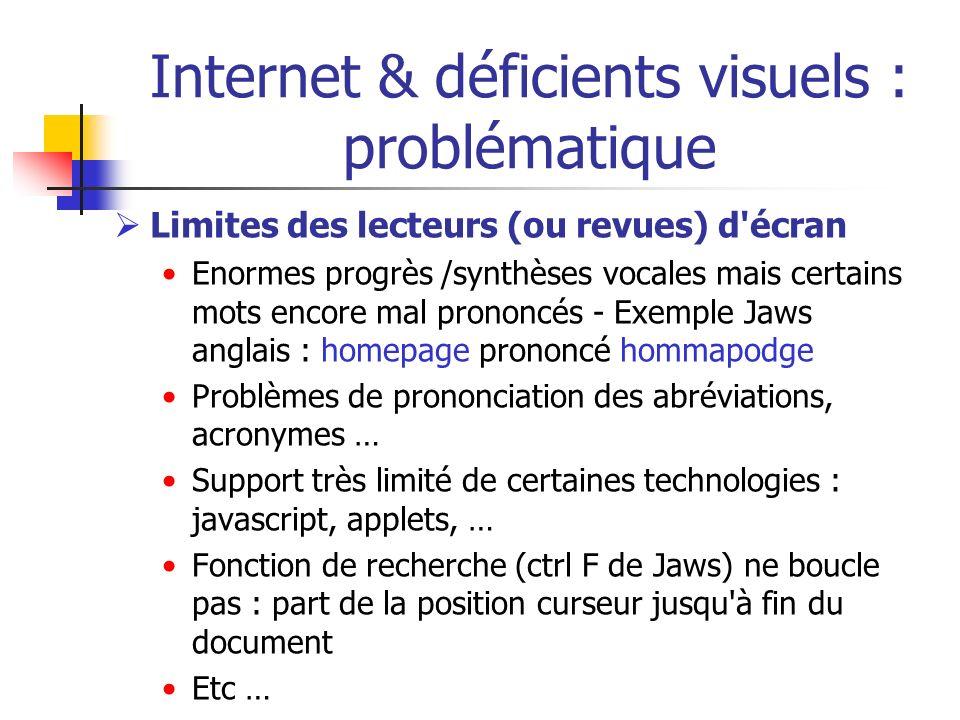 Internet & déficients visuels : problématique Limites des lecteurs (ou revues) d'écran Enormes progrès /synthèses vocales mais certains mots encore ma
