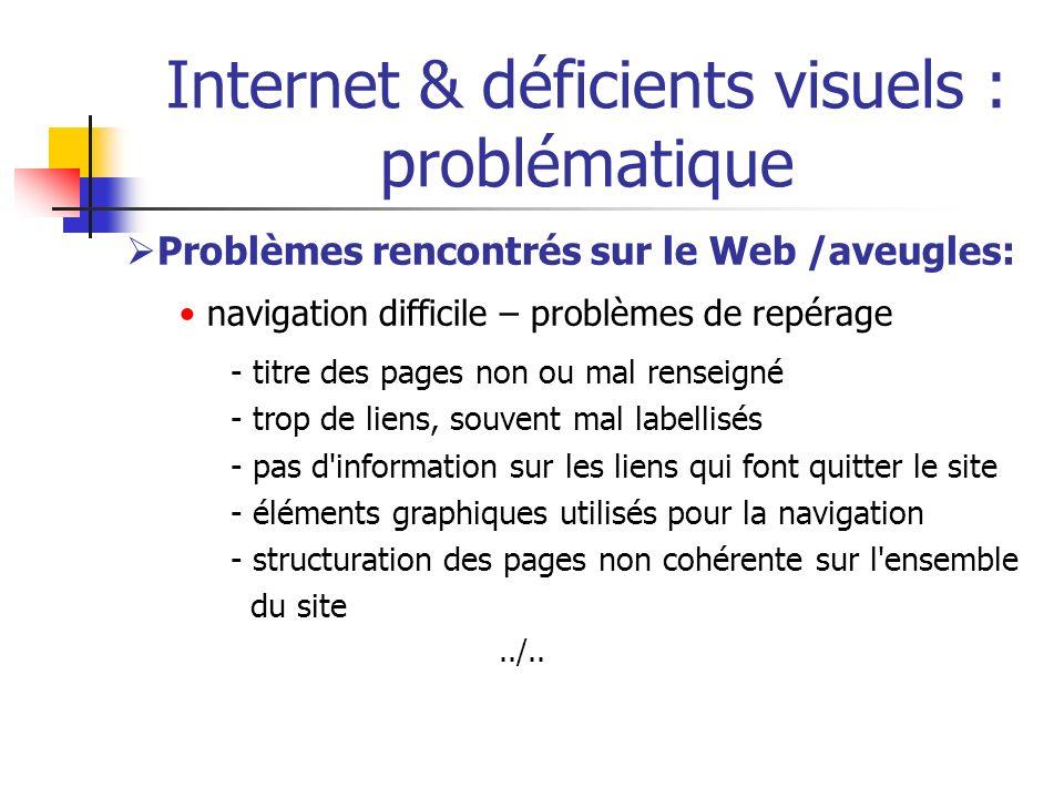 Internet & déficients visuels : problématique Problèmes rencontrés sur le Web /aveugles: navigation difficile – problèmes de repérage - titre des page
