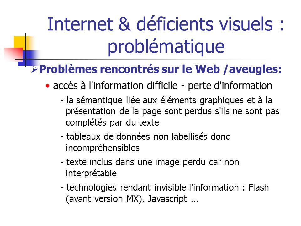 Internet & déficients visuels : problématique Problèmes rencontrés sur le Web /aveugles: accès à l'information difficile - perte d'information - la sé