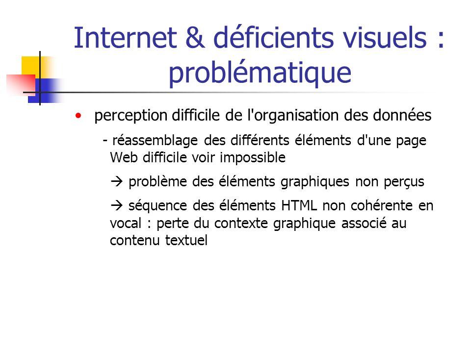 Internet & déficients visuels : problématique perception difficile de l'organisation des données - réassemblage des différents éléments d'une page Web