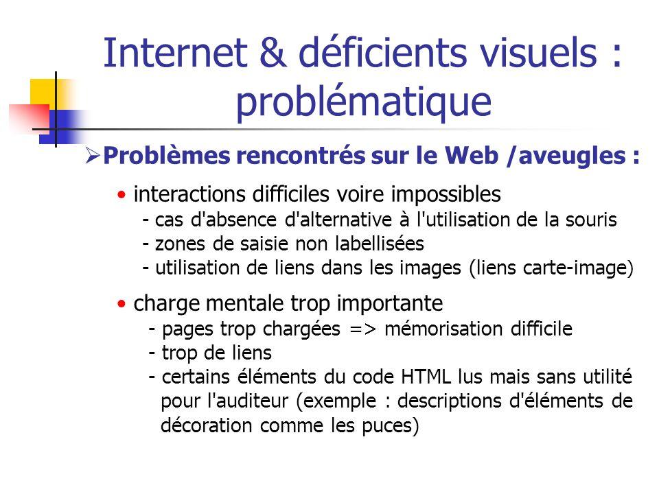 Internet & déficients visuels : problématique Problèmes rencontrés sur le Web /aveugles : interactions difficiles voire impossibles - cas d'absence d'