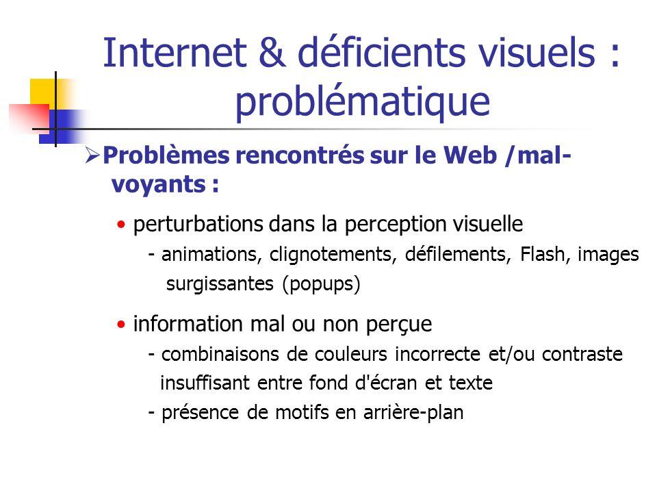 Internet & déficients visuels : problématique Problèmes rencontrés sur le Web /mal- voyants : perturbations dans la perception visuelle - animations,