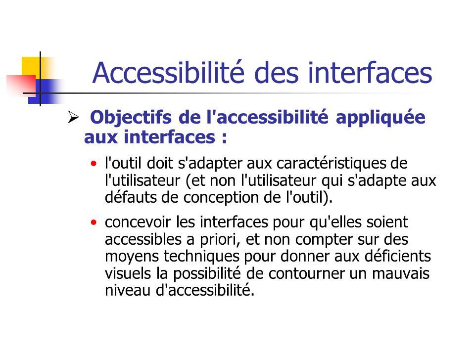Accessibilité des interfaces Objectifs de l'accessibilité appliquée aux interfaces : l'outil doit s'adapter aux caractéristiques de l'utilisateur (et
