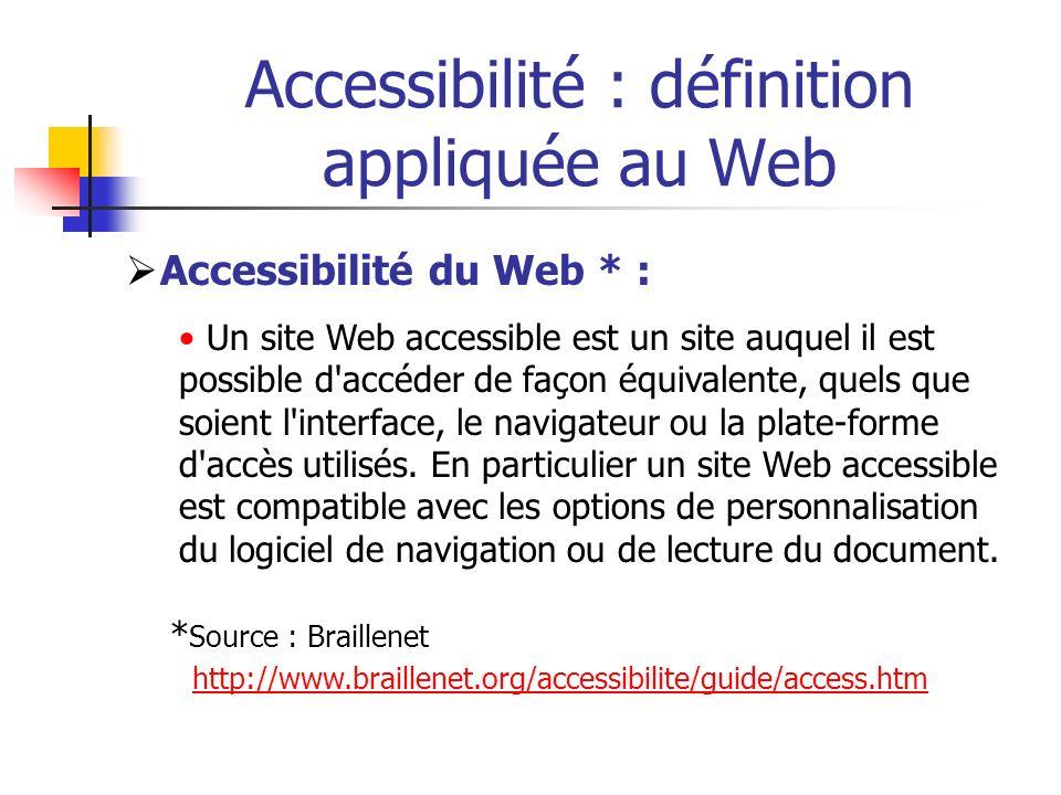 Accessibilité : définition appliquée au Web Accessibilité du Web * : Un site Web accessible est un site auquel il est possible d'accéder de façon équi
