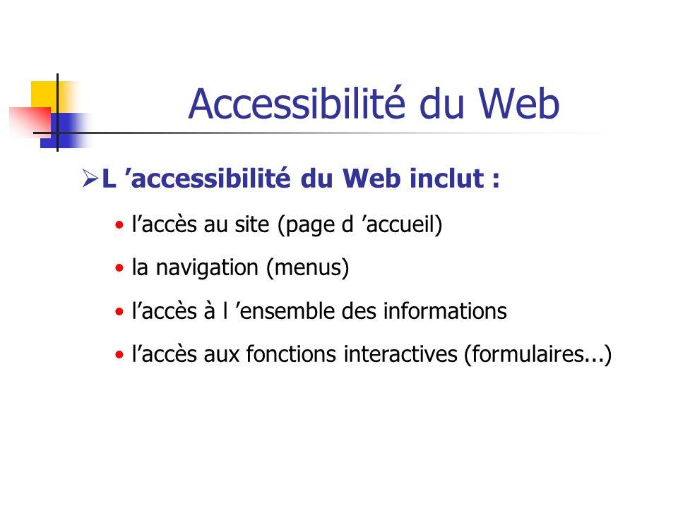 Accessibilité du Web L accessibilité du Web inclut : laccès au site (page d accueil) la navigation (menus) laccès à l ensemble des informations laccès