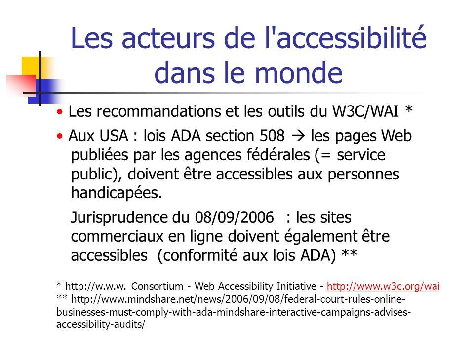 Les acteurs de l'accessibilité dans le monde Les recommandations et les outils du W3C/WAI * Aux USA : lois ADA section 508 les pages Web publiées par
