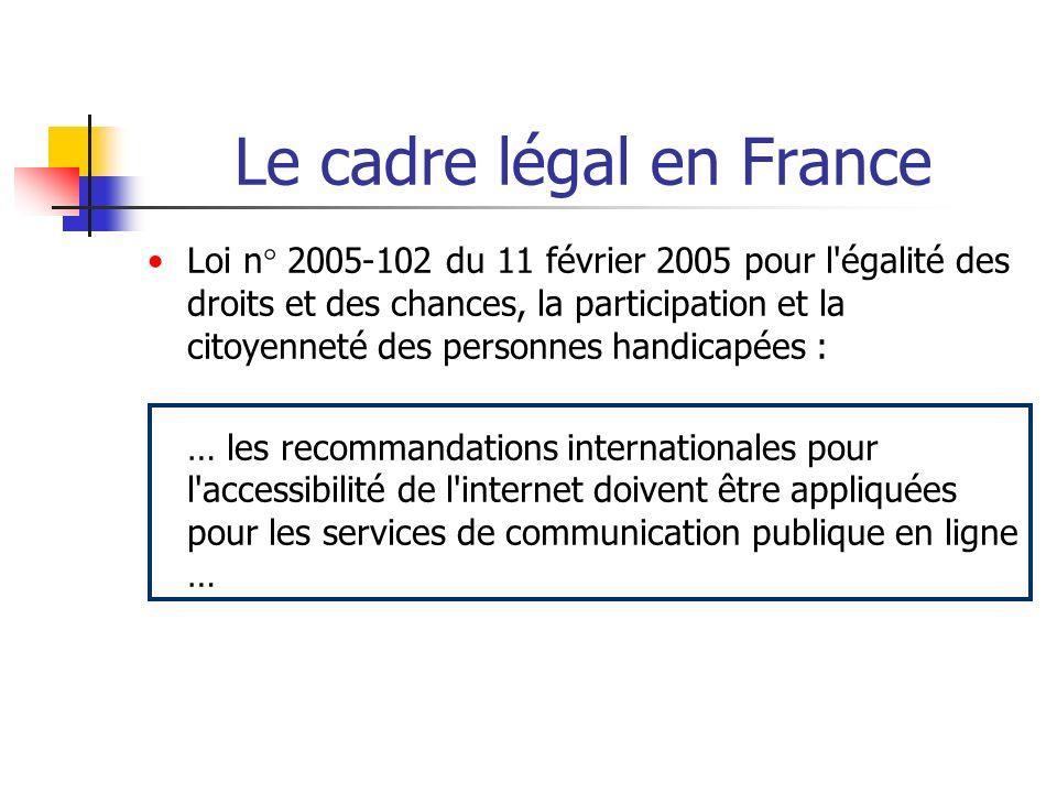 Le cadre légal en France Loi n° 2005-102 du 11 février 2005 pour l'égalité des droits et des chances, la participation et la citoyenneté des personnes