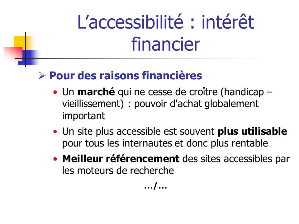 Laccessibilité : intérêt financier Pour des raisons financières Un marché qui ne cesse de croître (handicap – vieillissement) : pouvoir d'achat global