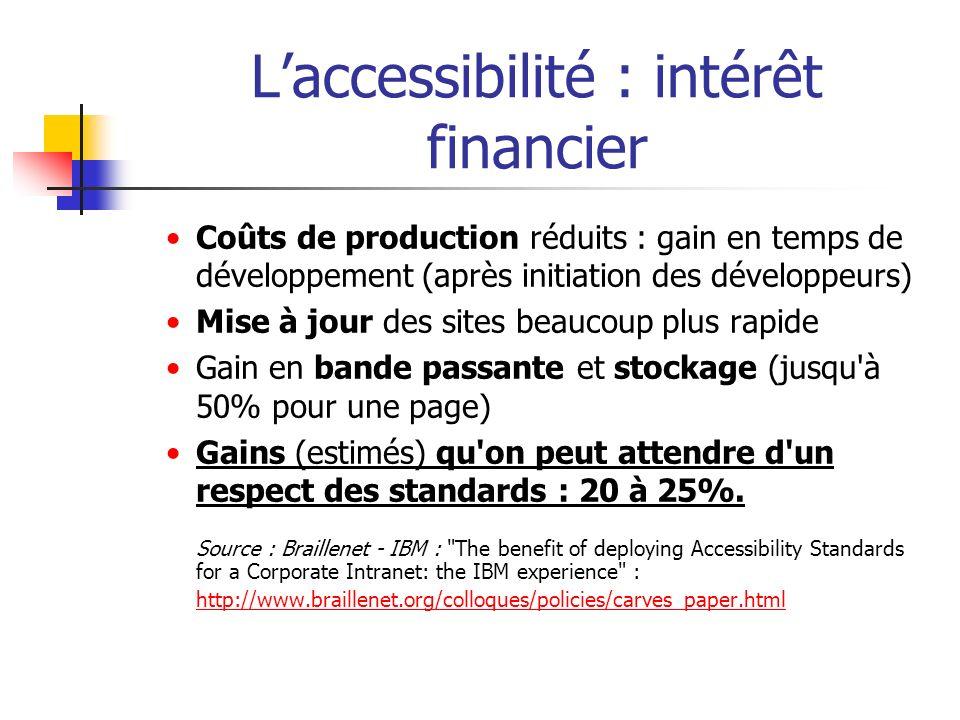 Laccessibilité : intérêt financier Coûts de production réduits : gain en temps de développement (après initiation des développeurs) Mise à jour des si